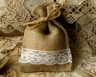 Burlap Bridesmaids gift bags, Gift bags for favors for wedding and showers, Burlap goody bags,