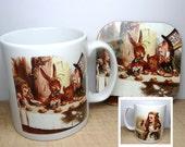 Alice In Wonderland Mug & Coaster Gift Set, 2 Sided Mug Design, Mad Hatters Tea Party, Cup, Coaster, UK