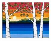 Lake Birch Single Blank Note Card