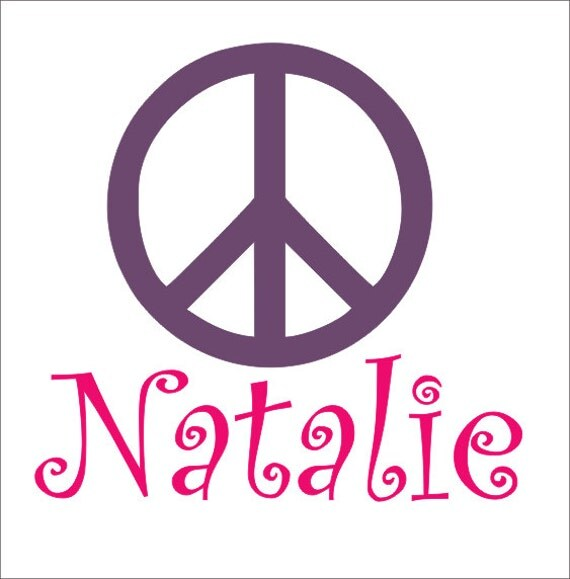 Peace Sign Bedroom Accessories: Items Similar To Personalized Name And Peace Sign Vinyl