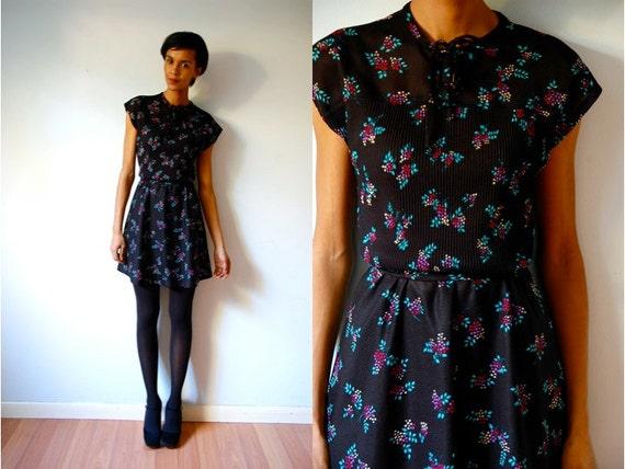 Vtg Black Floral Sheer Neck Tie Belted Secretary Dress