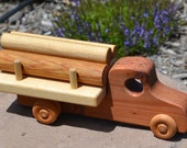 Log Truck, Redwood Heirloom Toy, Handmade
