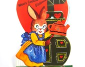 Vintage Bunny Valentine With Moving Teapot