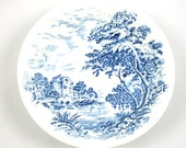 Blue Transferware Bowl, Countryside Pattern, Wedgwood and Co, England