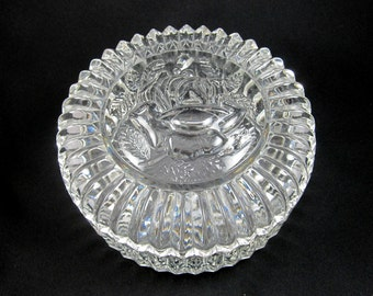 Depression Glass - Rose Motif - Vintage Lidded Bowl - Clear Glass