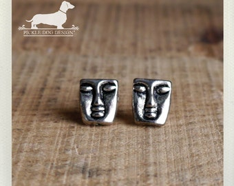 Aztec. Post Earrings -- (Silver, Face, Mask, Mime, Rustic, Emoticon, Studs, Small, Simple, Classic, Vintage-Style, Mexico, Gift Under 10)