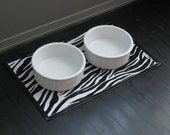 Black & White Zebra Print Waterproof Pet Placemat