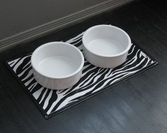Black & White Zebra Print Waterproof Pet Placemat