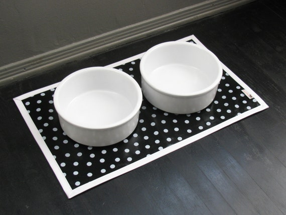Black & White Dot Pet Placemat with Solid White Border
