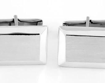 Sterling Silver Monogrammed Personalized Rectangular Shape Cufflinks