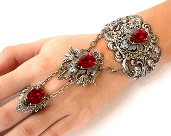 Silver Slave Bracelet - Red Siam Swarovski Silver Bracelet  - Victorian Gothic Jewelry