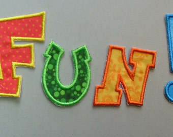 Fun Monogram letter iron on or sew on machine embroidered applique