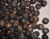Distressed Wood Beads, 88pcs 1970s