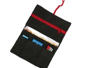 Tobacco pouch smoke pouch red in black