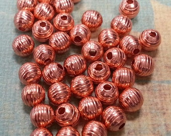 6 mm Circle Beads Solid Copper Beads. Made in the USA.
