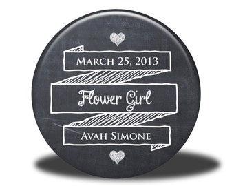 PERSONALIZED Flower Girl Gift - Mirror, Magnet, Bottle Opener or Pin - Chalkboard