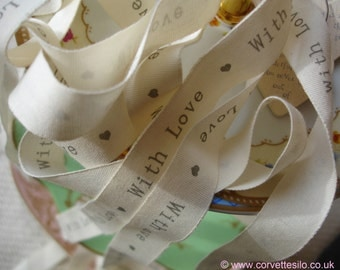 Vintage East of India ribbon - With Love - 3 metres