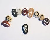 Valentine's Day, 10 Magnets Custom Letters or Je T'Adore (I Adore You in French) Quote, Beach Pebbles, Gift Ideas, Sea Stones