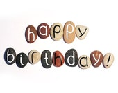 Happy Birthday, Unique Gift Idea for Birthday, 14 Magnets Letters, Custom Quote, Beach Pebbles, Personalized, Rocks