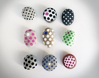 9 Polka Dot Magnets, Beach Pebbles with Magnets, Unique Gifts, Sea Stones, Painted Rocks by Happy Emotions