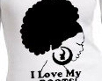 Afro T-shirt-Original Short Sleeve Vneck Women's Roots Tshirt