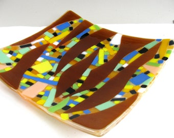 Fused glass plate - titled 'spear points'19