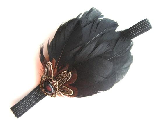 Fascinator Headband Elastic Black Feather Gold Button