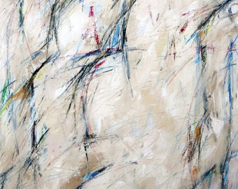 Untitled, 3-13-13  (abstract painting, black, pastel, white, ivory, brown, cream, red, green)