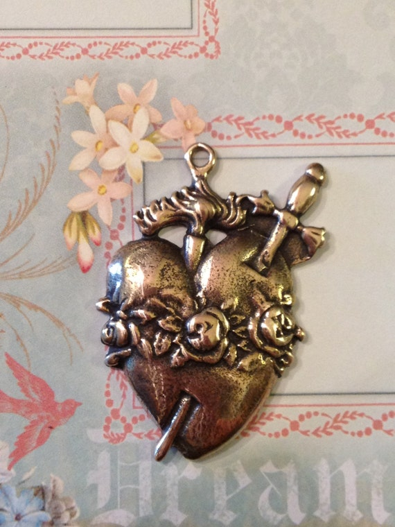 Flaming Pierced Heart with Roses Bronze Medal