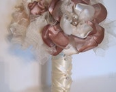 Brides Bridesmaid Vintage Fabric Flower Wedding Bouquet Champagne Ivory and Dusty Rose with Faux Pearl Accents...Custom Made to Your Colors