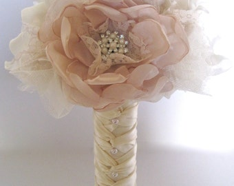 Bridesmaid Brides Fabric Flower Wedding Bouquet  In Champagne and Ivory  with Faux Pearl Accents and Lace... Custom Made to Your Colors