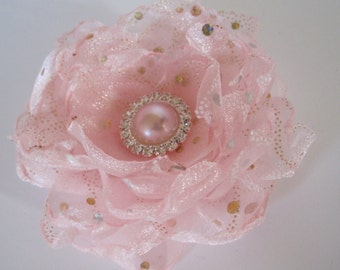 Sale...Pink Organza Dot Sparkle Wedding Flower  Hair Clip Bridesmaid Mother of the Bride Prom with Pink Pearl and Rhinestone Accent