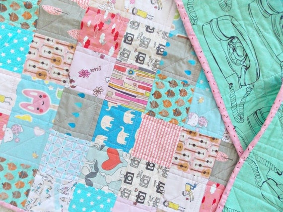 Girls Kawaii Quilt - 80's Quilt - Baby Crib Quilt - Spoonflower Fabric