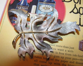 Vintage Gold-Silver Tone Large Beautiful Leaf Brooch Pin