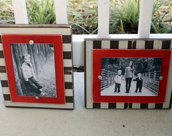 Distressed Picture Frames, Striped 5x7 Frames, Rustic Frames, Wedding Gift, Set of Two Frames, Painted Frames