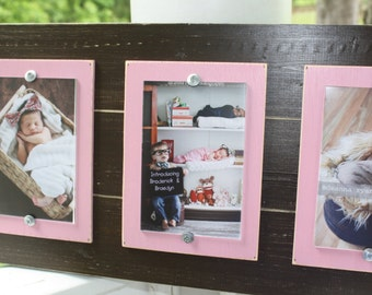 Distressed Triple Frame, Rustic Picture Frame, Triple 4x6 Frame, College Frame, Pink Picture Frame