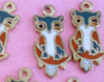 Vintage Winking Owl Charms, Cloisonne, Enameled. Owl charms, Owls, Golden Enameled Owls