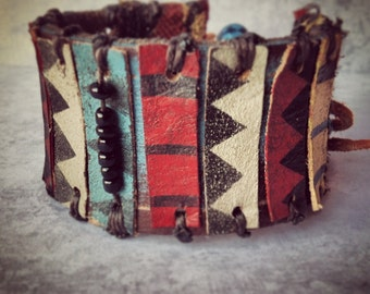 Layers of Leather - Tribal Leather Bracelet - Ethnic Leather Cuff - Chevron Jewelry - Boho Indie Style