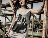 Boston Terrier Bride and Groom Dog Wedding T-shirt Tunic gray Tank Top Shirt Women vest tee sleeveless size M L