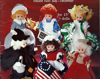 A Doll-A-Month Volume Two Crochet Doll Clothes Pattern Book - American School of Needlework 1082