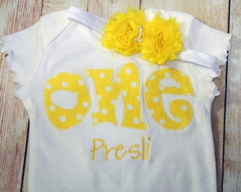"Birthday ""One"" Shirt for Girls First Birthday - 1st Birthday Shirt - Yellow Polka Dots- Matching Headband"
