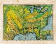 """Early Famous French Map of the United States c.1731, used by Lewis and Clark 11x14"""""""
