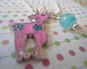 SALE Pink Deer Charm Necklace for child