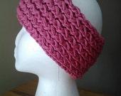 Hot Rose, Pink soft stretchy knit ear warmer headband