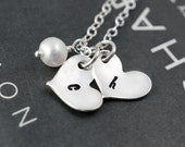 Two initial necklace, Bridal gift, Mothers necklace, Kids initials, Husband Wife, Letter necklace with pearl, Sterling silver