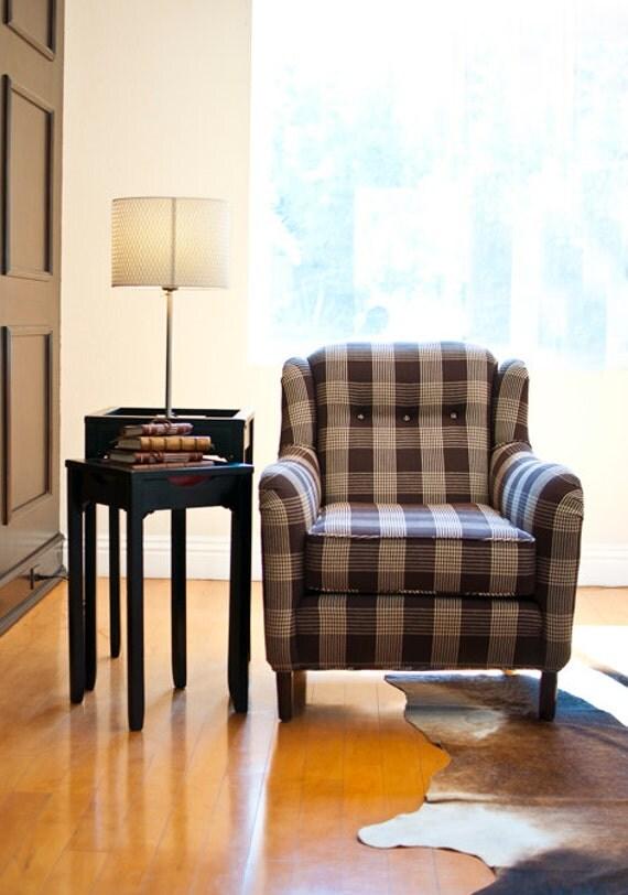Vintage Plaid Smoking Sofa Chair