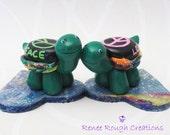 Turtle Hippie Love Couple Polymer Clay Miniature