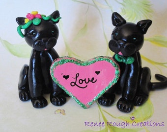 Black Panther Cat Love Couple Polymer Clay Sculpture Wedding Anniversary Celebration Cake Topper Free Shipping USA
