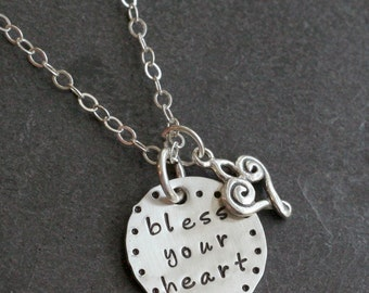 Custom Personalized Bless Your Heart Hand Stamped Name Southern Charm Necklace