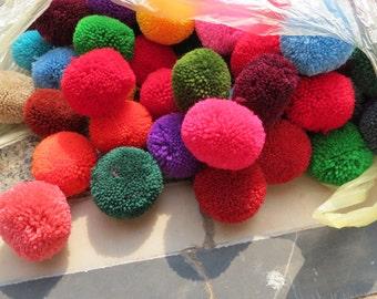 50,   2 inch Yarn Pom Poms  - beads, balls,flower, cotton, handmade, pompom, Mixed color,